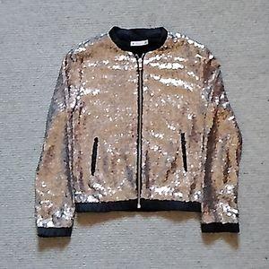 Sequins grey zip up jumper